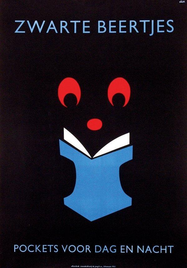 1: Poster by Dick Bruna - Zwarte beertjes pockets voor