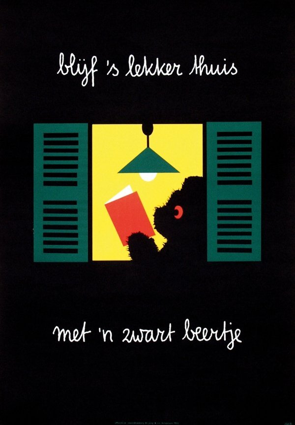 3: Poster by Dick Bruna - blijf 's lekker thuis met 'n