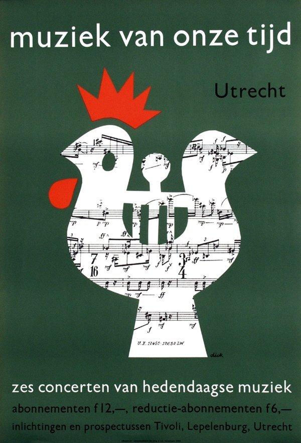 15: Poster by Dick Bruna - Muziek van onze tijd zes con