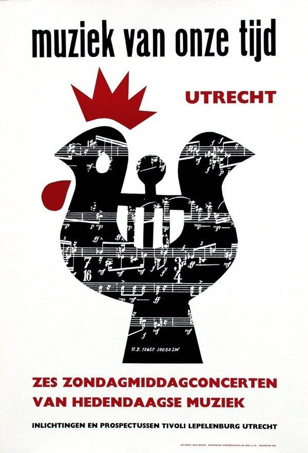 16: Poster by Dick Bruna - Muziek van onze tijd zes zon