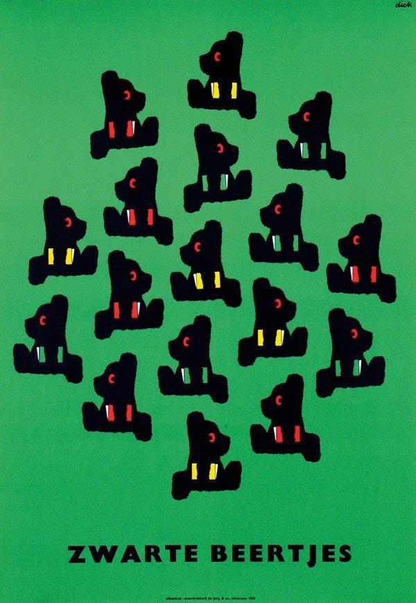 6: Poster by Dick Bruna - Zwarte Beertjes
