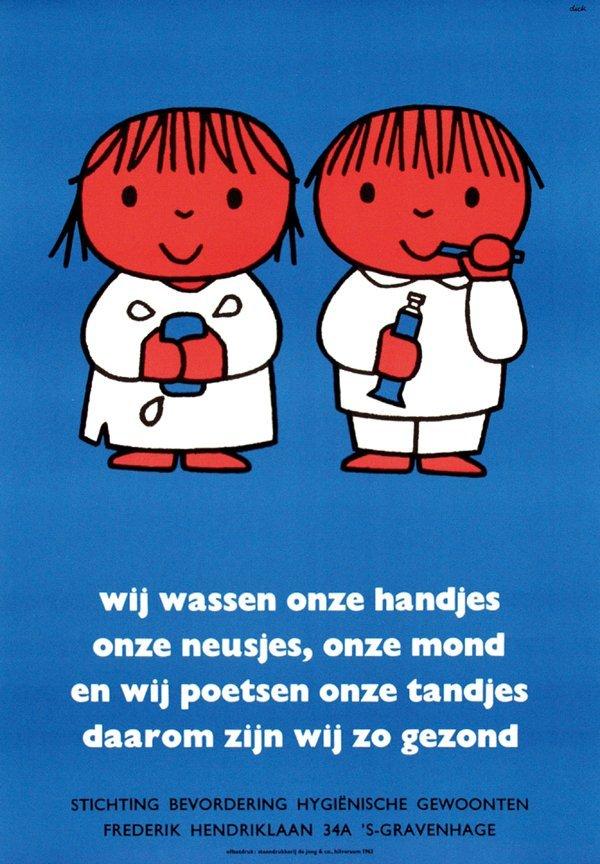 9: Poster by Dick Bruna - wij wassen onze handjes
