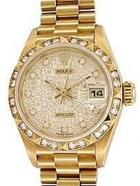Rolex - Ladies' 18K  President with Diamond Hr Marker