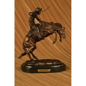 Bronco Buster White Bronze Sculpture on marble base