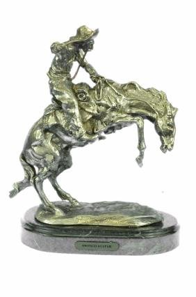 Silver plated Bronco Buster White Bronze Sculpture on