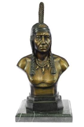 Native Indian Chief Bronze Bust Sculpture Statue
