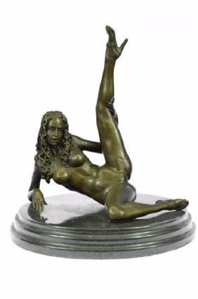 signed bronze sculpture on marble base