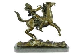 Mounted Indian Chief Bronze Sculpture