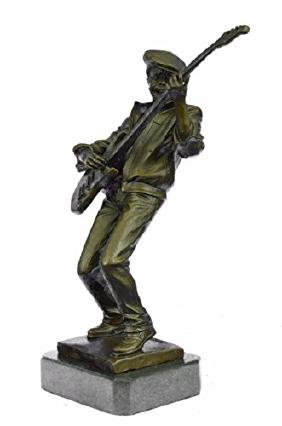 Guitar Player Singer Bronze Sculpture on Marble base