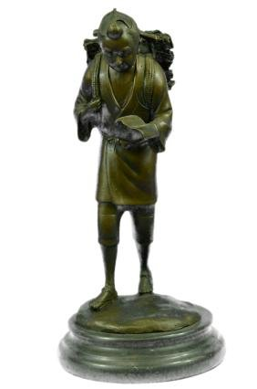 Young Boy Walking From School Bronze Sculpture