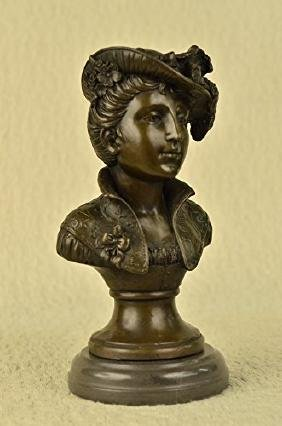 Elegant Female Bust Bronze Sculpture on marble base