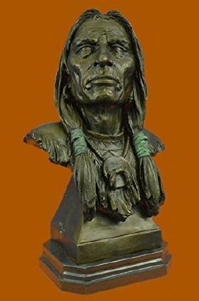 Indian Chief Bust Bronze Sculpture Cultural Figure
