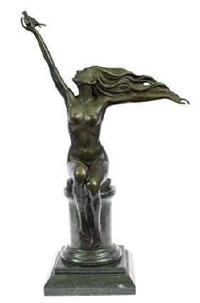 Nude Lady Free Bird Bronze Marble Sculpture Figurine