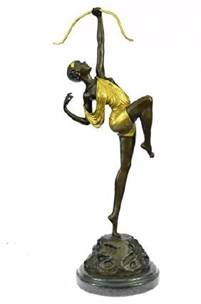 Gold Patina Female Archer Bronze Sculpture Marble Base