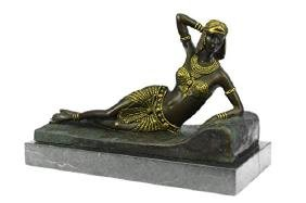 Gold Patina Egyptian Princess Bronze Sculpture