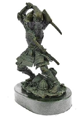 Bronze Samurai Sculpture on Marble Base Figurine