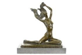 Girl Bronze Sculpture on marble base Figure