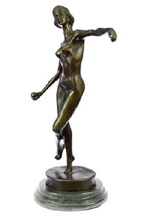 Nude Girl Ball Player  Bronze Sculpture