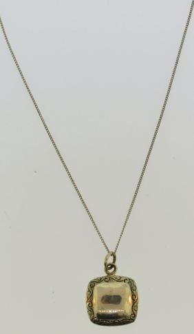 Vintage Square Sterling Silver Pendant Necklace