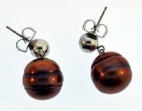 Vintage Sterling Silver Pearl Cultured Earrings