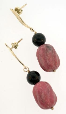 Vintage sterling silver black onyx & gemstone earrings