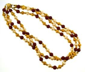 Gold plated vintage faux pearl necklace