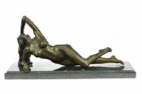Beautiful Naked Nude Girl Bronze Sculpture on Mrable