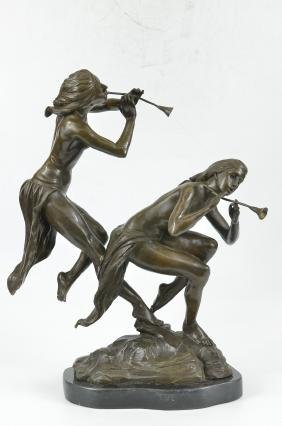 Two Wood Nymphs Singing Bronze Sculpture