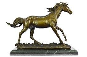 Arabian Horse Bronze Sculpture on Marble Base Figure