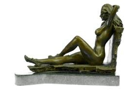 Nude Temptress Woman Bronze Sculpture on Marble base