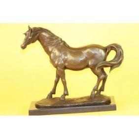 Fine Stallion Horse on Marble Base Bronze Sculpture