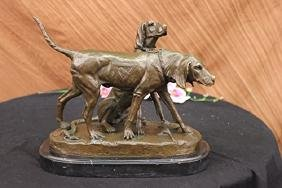 Vintage Hunting Dogs Bronze Sculpture