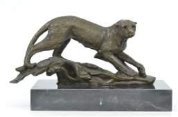 Cougar Panther Jaguar Cat Collector Art Bronze Marble