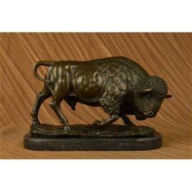 American Buffalo Bronze Sculpture on Marble Base
