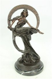 Dream Goddess with Bliss Ring Bronze on Marble Base