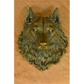 Hot Cast Wolf Head Bronze Sculpture Wall Mount Figurine