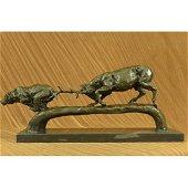 Elk Stag Confrontation Brown Bear Bronze Sculpture