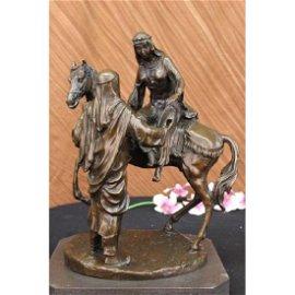 Arabian Man Helping his wife BronzeStatue on Marble
