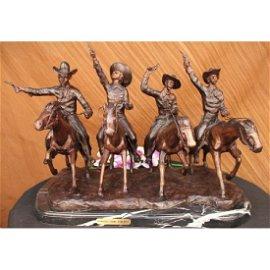 Four Cowboys With Gun Old West Bronze Sculpture