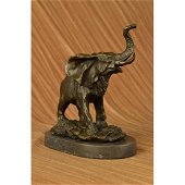 Laughing Elephant Symbol of Luck Bronze Sculpture on