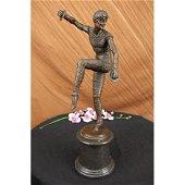 Russian Tamborine Dancer Bronze Sculptur