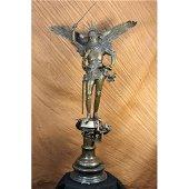 Archangel with Sword Bronze Sculpture on Marble Base