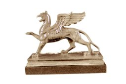 Griffin Bronze Statue with Marble Base Sculpture
