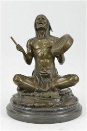 Native American Chanting Bronze Sculpture