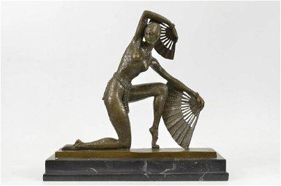 Fan Dancer Bronze Sculpture on Marble Base State