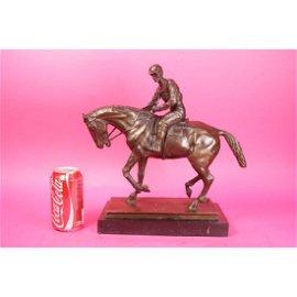 Horse and Jockey Racetrack Triple Crown Farm Bronze