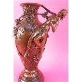 Signed Moreau Nude Girl Floral Vase Bronze Figurine Art