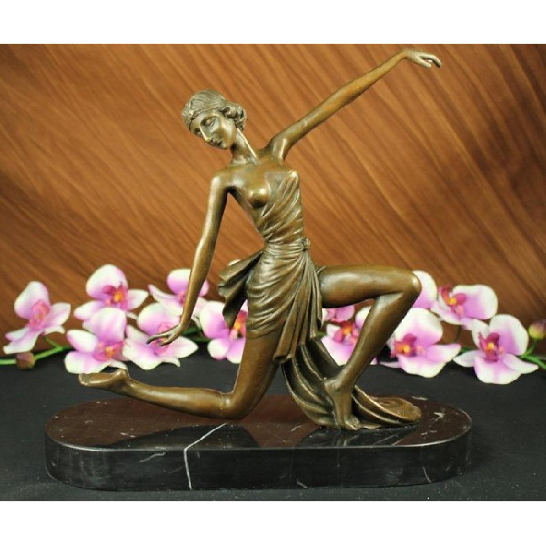Orig. Signed Jean Patou Gilt Flirty Dancer Bronze