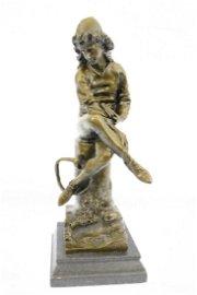 Beautiful Art Nouveau Solid Bronze Statue