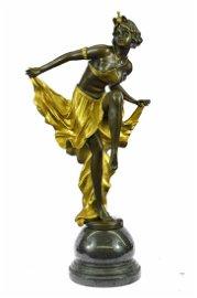 Belly Dancer Bronze Sculpture on Marble Base Statue